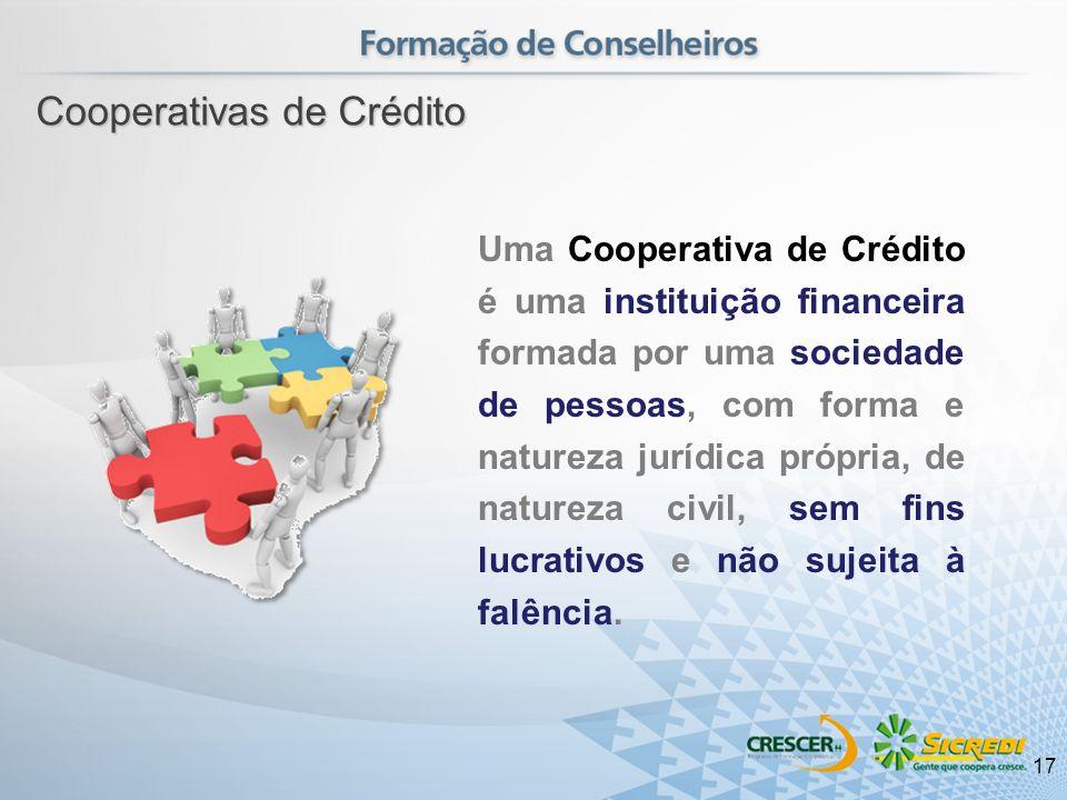 Uma Cooperativa de Crédito é uma instituição financeira formada por uma sociedade de pessoas, com forma e natureza jurídica própria, de natureza civil