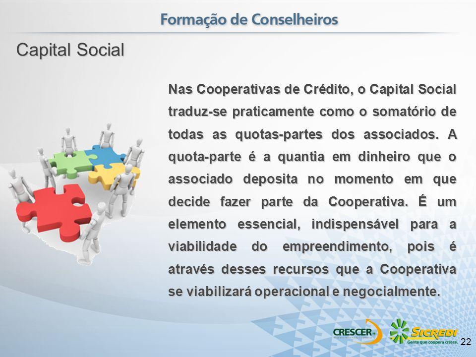 Nas Cooperativas de Crédito, o Capital Social traduz-se praticamente como o somatório de todas as quotas-partes dos associados. A quota-parte é a quan