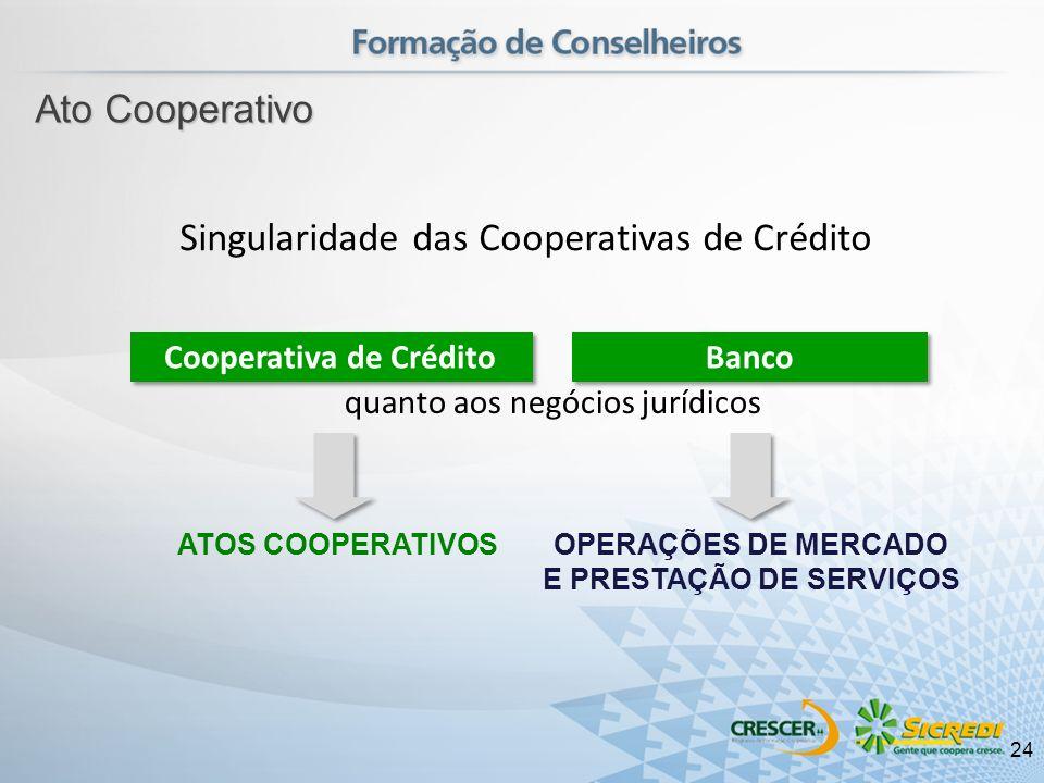 ATOS COOPERATIVOSOPERAÇÕES DE MERCADO E PRESTAÇÃO DE SERVIÇOS Singularidade das Cooperativas de Crédito quanto aos negócios jurídicos Cooperativa de C