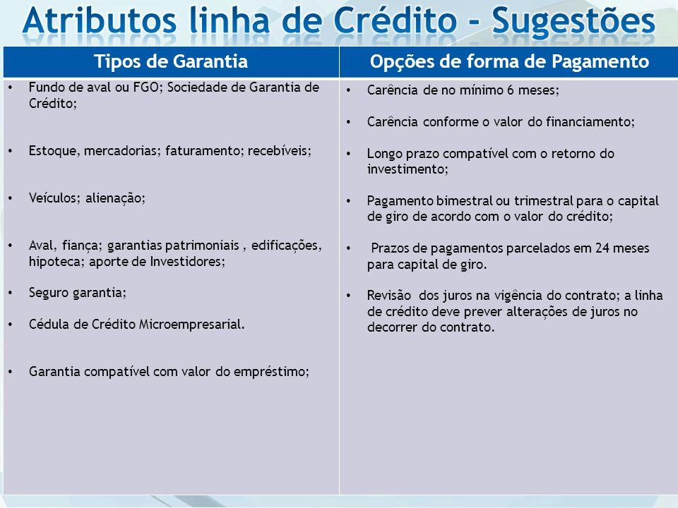 Tipos de GarantiaOpções de forma de Pagamento Fundo de aval ou FGO; Sociedade de Garantia de Crédito; Estoque, mercadorias; faturamento; recebíveis; V