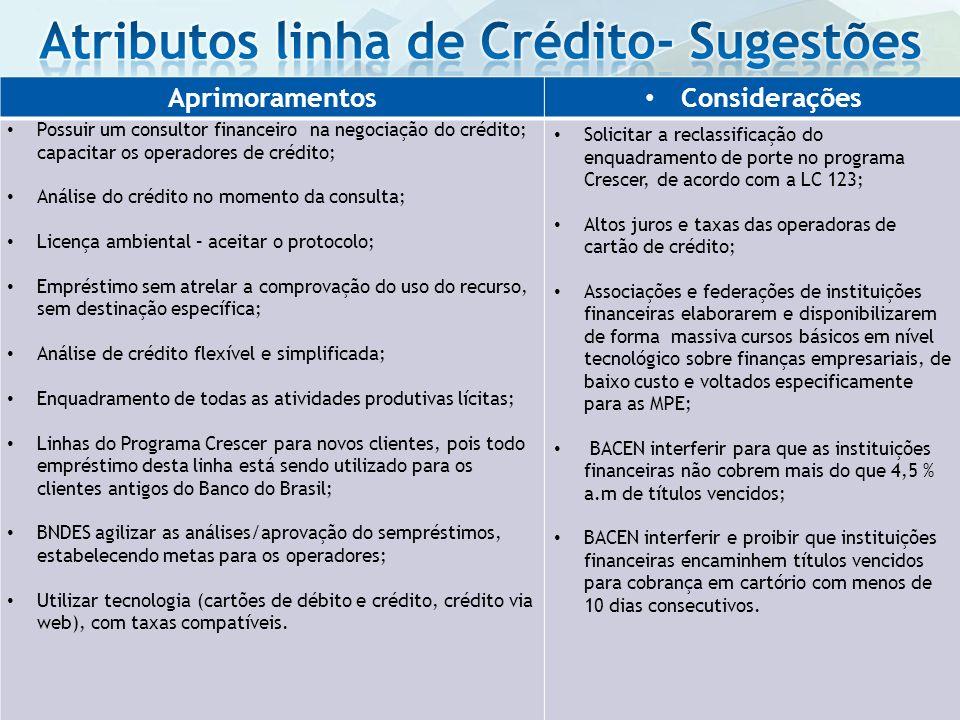 Aprimoramentos Considerações Possuir um consultor financeiro na negociação do crédito; capacitar os operadores de crédito; Análise do crédito no momen