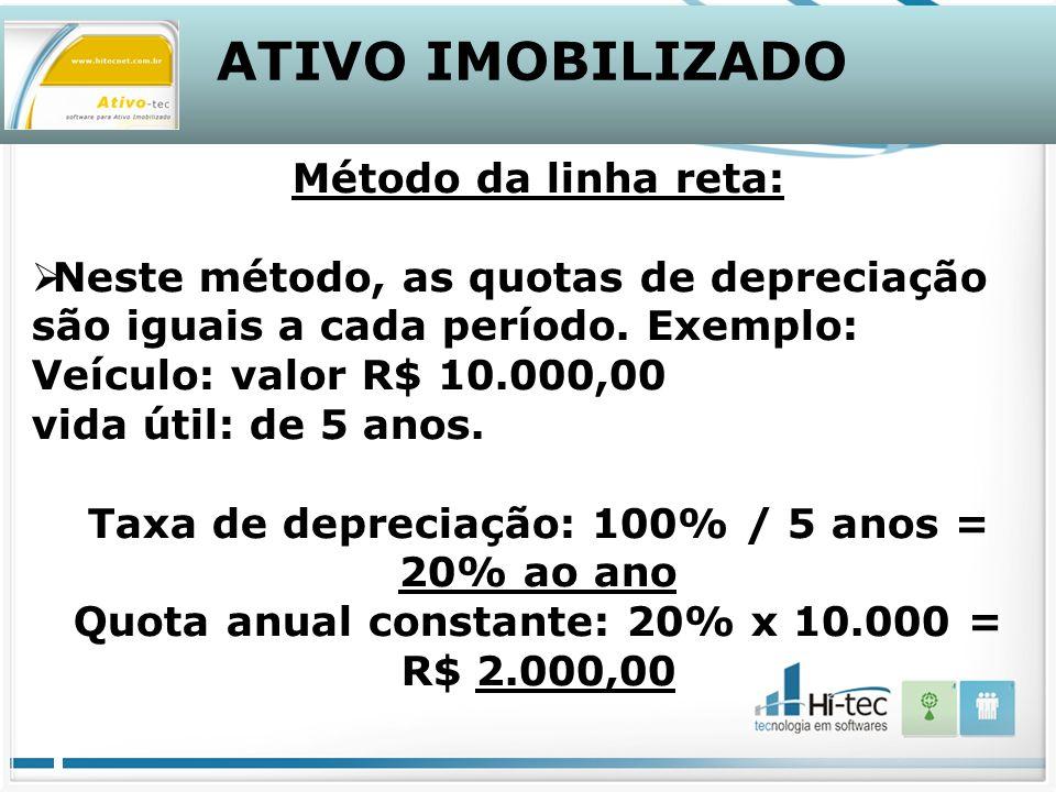 ATIVO IMOBILIZADO Método da linha reta: Neste método, as quotas de depreciação são iguais a cada período.