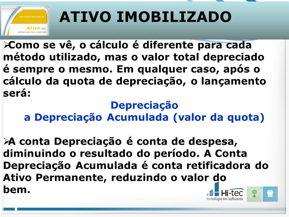 ATIVO IMOBILIZADO Como se vê, o cálculo é diferente para cada método utilizado, mas o valor total depreciado é sempre o mesmo.