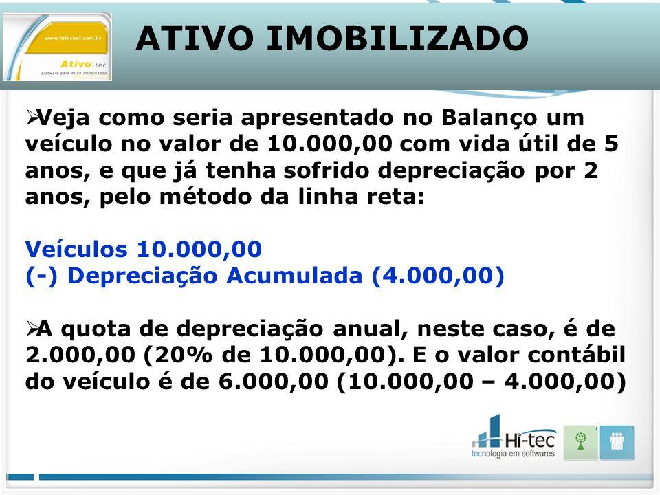 ATIVO IMOBILIZADO Veja como seria apresentado no Balanço um veículo no valor de 10.000,00 com vida útil de 5 anos, e que já tenha sofrido depreciação por 2 anos, pelo método da linha reta: Veículos 10.000,00 (-) Depreciação Acumulada (4.000,00) A quota de depreciação anual, neste caso, é de 2.000,00 (20% de 10.000,00).