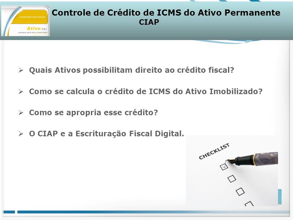 Quais Ativos possibilitam direito ao crédito fiscal.