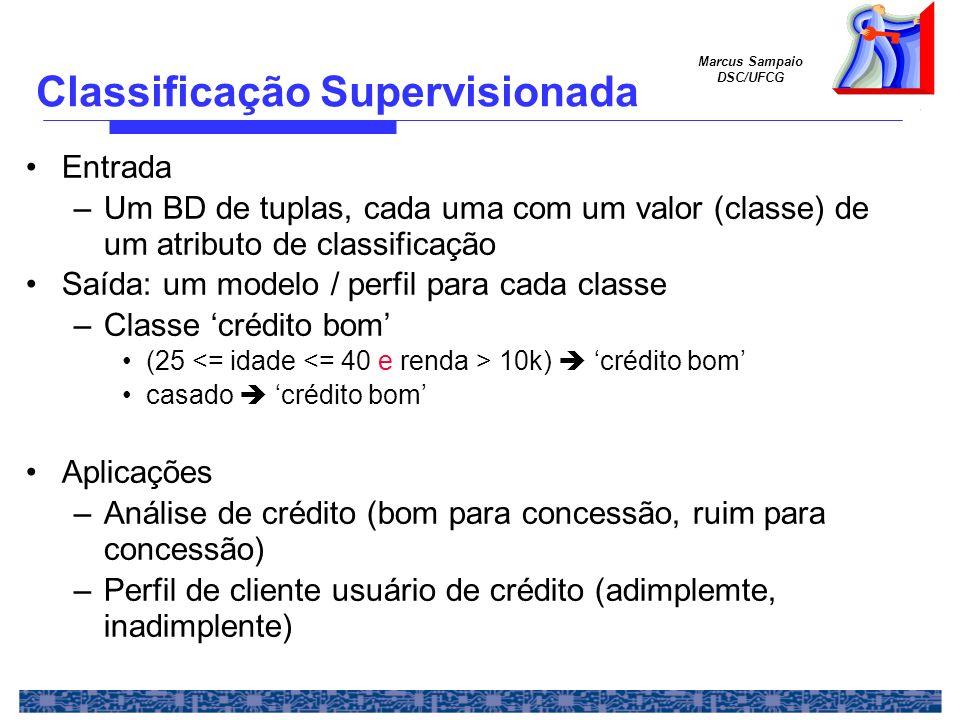Marcus Sampaio DSC/UFCG Organização prévia de dados em classes – supervisão –Dados: conjunto de casos, ou instâncias –Classe: valor de um atributo de classificação Um algoritmo de classificação induz (infere, aprende) padrões de classificação – modelo – dos dados Confiabilidade do modelo –Divisão dos dados em conjunto de treinamento (conjunto- treinamento) e conjunto de teste (conjunto-teste) –Um algoritmo de classificação induz (infere, aprende) padrões de classificação – modelo – de conjuntos de treinamento (depende da técnica utilizada) –O modelo é testado com o conjunto de testes O modelo aprovado é usado para classificar novos casos conjunto de execução Classificação Supervisionada (2)
