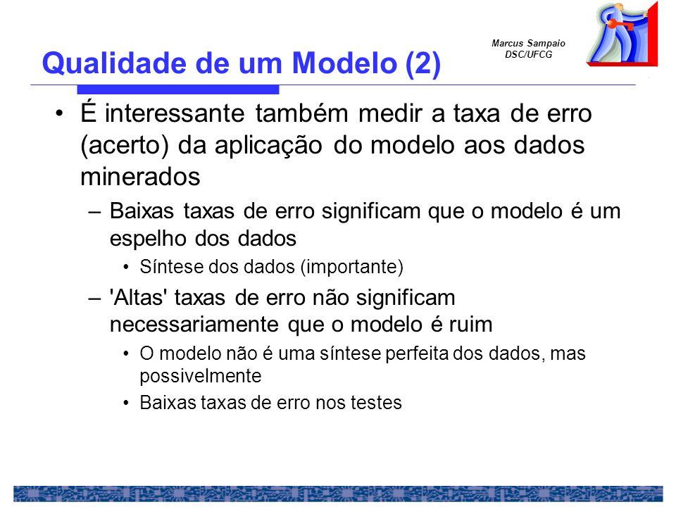Marcus Sampaio DSC/UFCG Em resumo –Modelo-espelho Bom para conhecer os dados –Alta acurácia de teste Importante para acertar com o o conjunto de execução –Estimativa da acurácia de execução –Numa análise comparativa, é comum situações como Qualidade de um Modelo (3)