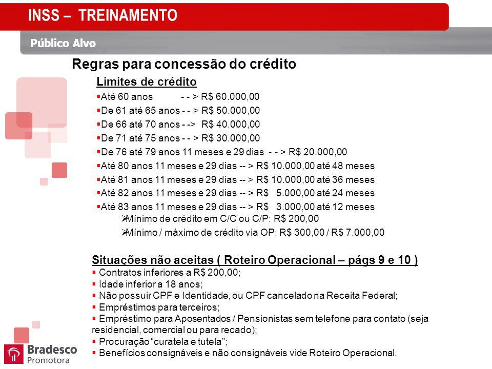 Público Alvo Regras para concessão do crédito Limites de crédito Até 60 anos - - > R$ 60.000,00 De 61 até 65 anos - - > R$ 50.000,00 De 66 até 70 anos