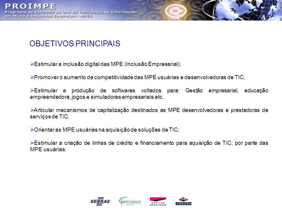 OBJETIVOS PRINCIPAIS Estimular a inclusão digital das MPE (Inclusão Empresarial); Promover o aumento da competitividade das MPE usuárias e desenvolved