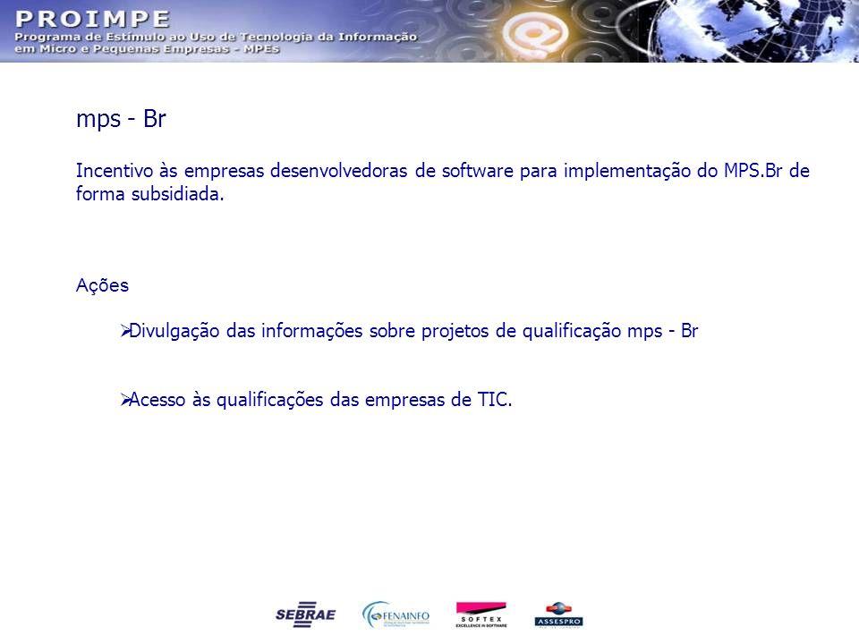 Incentivo às empresas desenvolvedoras de software para implementação do MPS.Br de forma subsidiada. Ações Divulgação das informações sobre projetos de