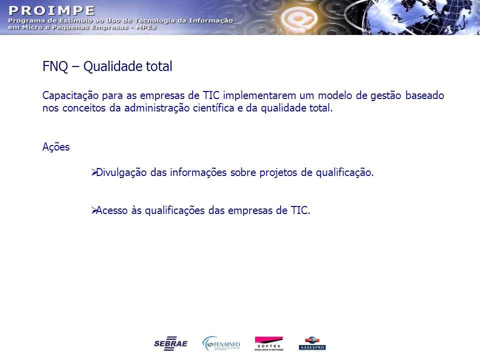 Capacitação para as empresas de TIC implementarem um modelo de gestão baseado nos conceitos da administração científica e da qualidade total. Ações Di