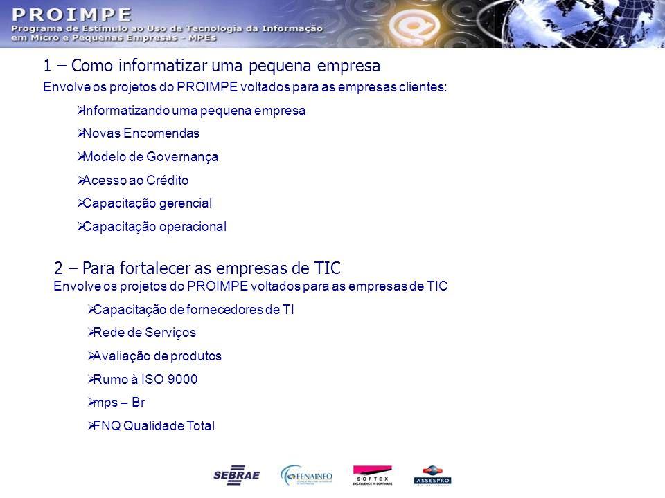 1 – Como informatizar uma pequena empresa Envolve os projetos do PROIMPE voltados para as empresas clientes: Informatizando uma pequena empresa Novas