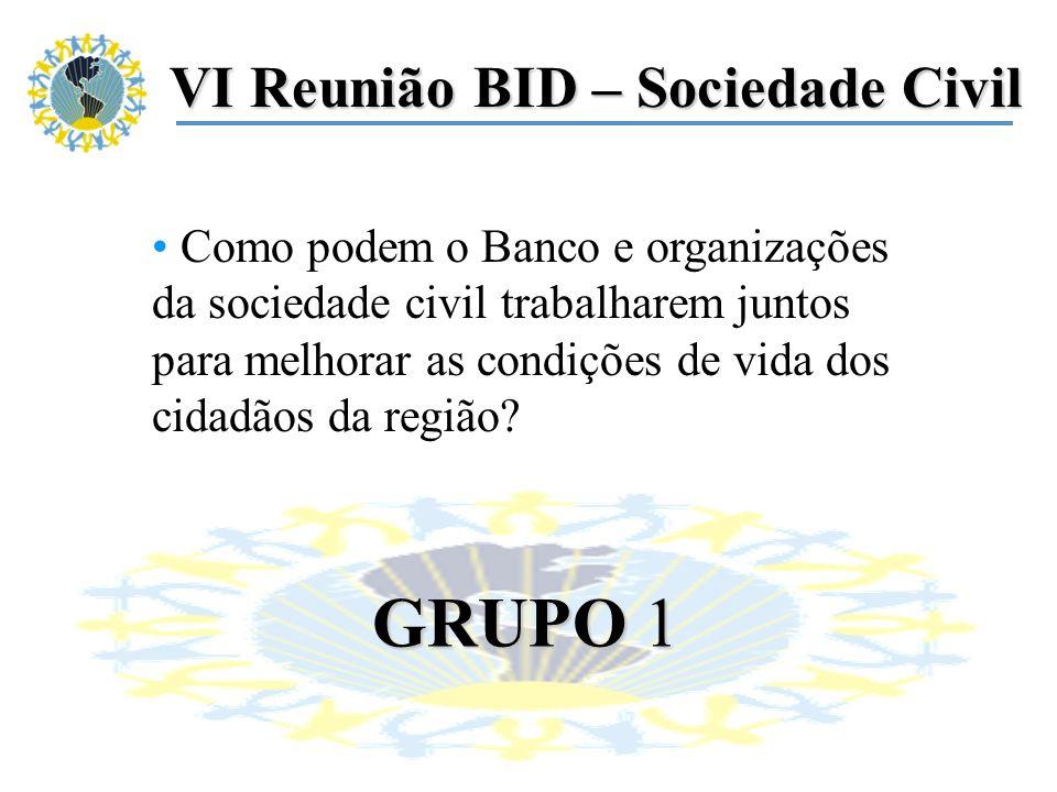 VI Reunião BID – Sociedade Civil Como podem o Banco e organizações da sociedade civil trabalharem juntos para melhorar as condições de vida dos cidadãos da região.