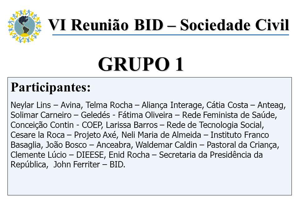 Participantes: Neylar Lins – Avina, Telma Rocha – Aliança Interage, Cátia Costa – Anteag, Solimar Carneiro – Geledés - Fátima Oliveira – Rede Feminist