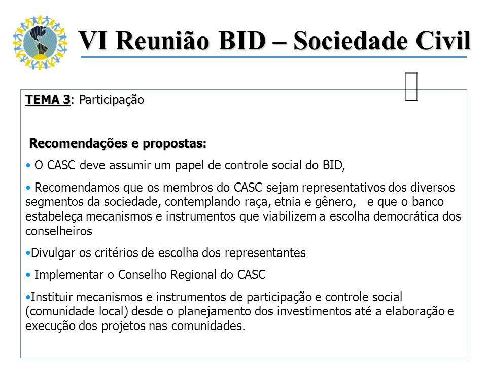 VI Reunião BID – Sociedade Civil TEMA 3: Participação Recomendações e propostas: Recomendações e propostas: O CASC deve assumir um papel de controle s