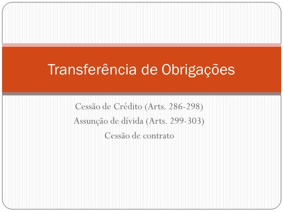Cessão de Crédito (Arts. 286-298) Assunção de dívida (Arts. 299-303) Cessão de contrato Transferência de Obrigações