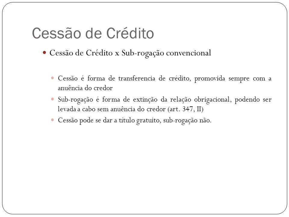Cessão de Crédito Cessão de Crédito x Sub-rogação convencional Cessão é forma de transferencia de crédito, promovida sempre com a anuência do credor S