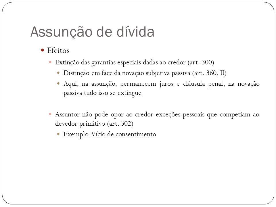 Assunção de dívida Efeitos Extinção das garantias especiais dadas ao credor (art. 300) Distinção em face da novação subjetiva passiva (art. 360, II) A
