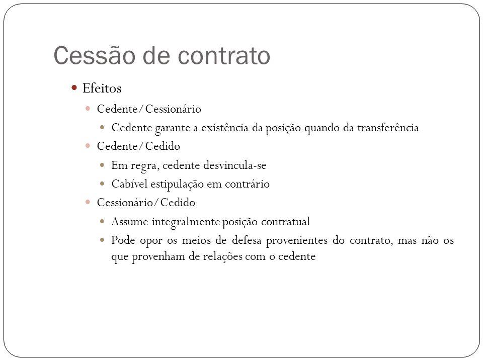Cessão de contrato Efeitos Cedente/Cessionário Cedente garante a existência da posição quando da transferência Cedente/Cedido Em regra, cedente desvin