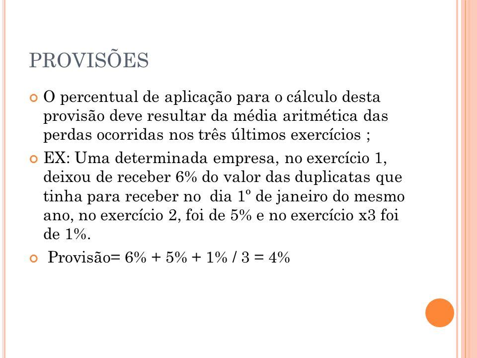 PROVISÕES Em 31/12/x4, o percentual a ser utilizado para fins de cálculo para esta provisão será de 4%.