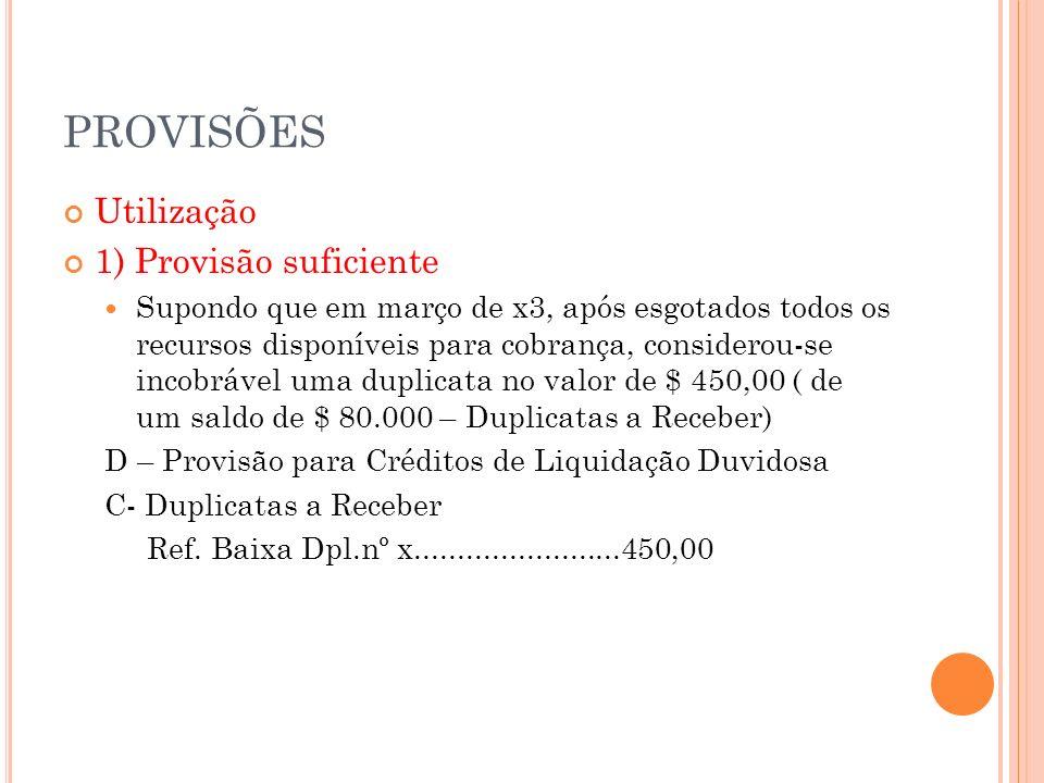 PROVISÕES 2) Provisão insuficiente Supondo que em junho de x3 tenha sido considerada incobrável mais uma duplicata de $ 2.000,00: D- Prov.p/Créd.