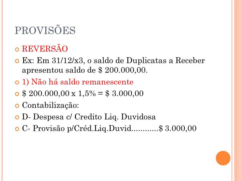 PROVISÕES 2) Há saldo remanescente Saldo da provisão: $ 1.050,00 D – Prov.