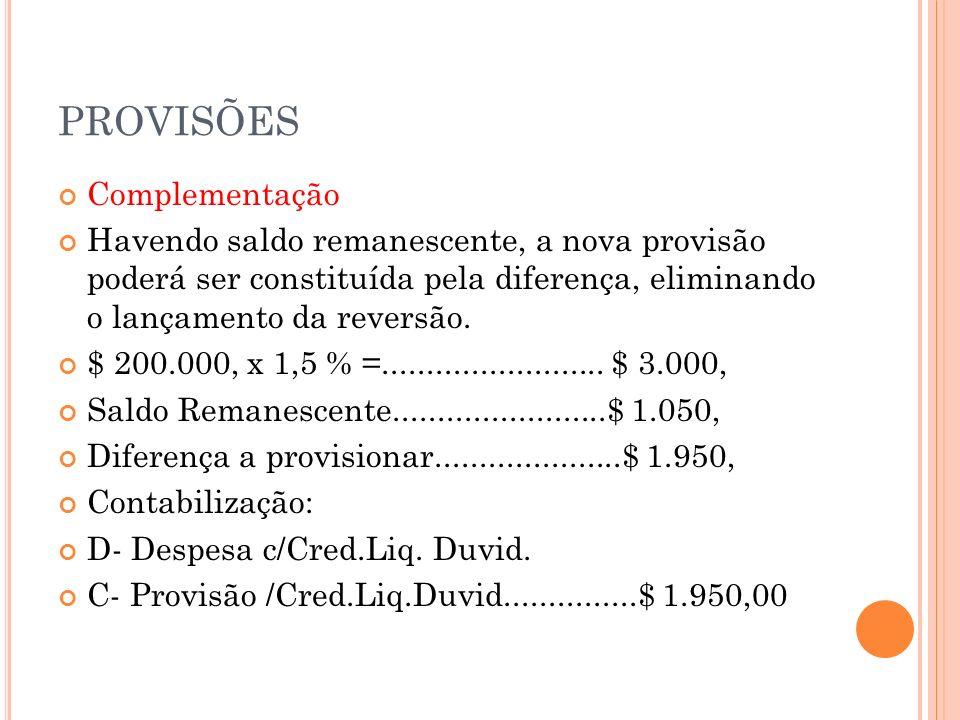 E XERCÍCIOS 1) Sabendo-se que o saldo da conta Duplicatas a Receber em 31/12/x1, é de $ 300.000, calcular e contabilizar a Provisão para Crédito de Liquidação Duvidosa, pela taxa de 5%, considerando que não havia saldo remanescente.