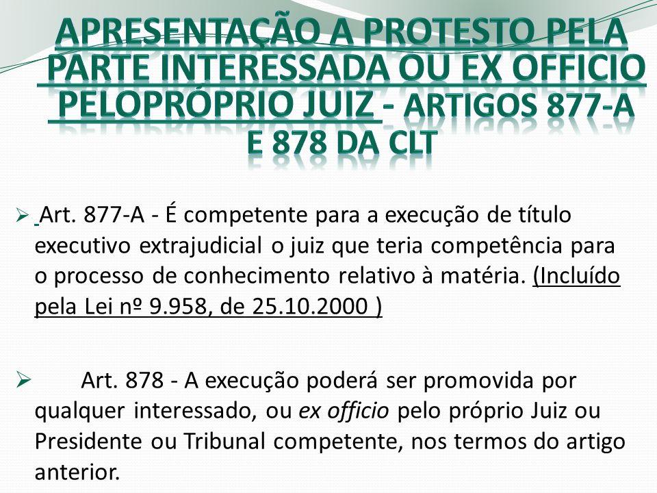 Art. 877-A - É competente para a execução de título executivo extrajudicial o juiz que teria competência para o processo de conhecimento relativo à ma
