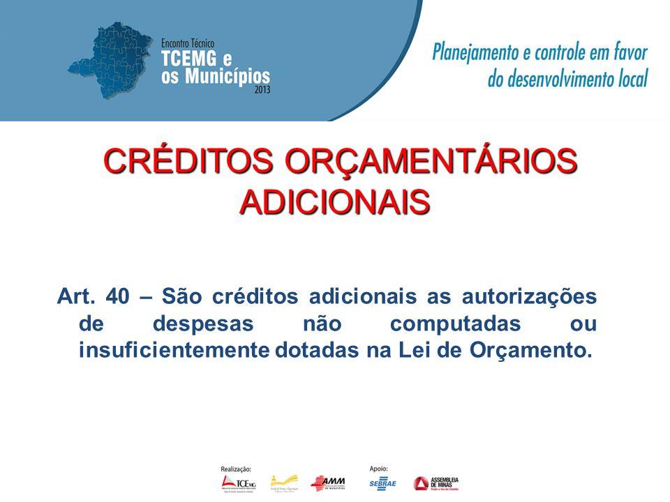 CRÉDITOS ORÇAMENTÁRIOS CRÉDITOS ORÇAMENTÁRIOSADICIONAIS Art. 40 – São créditos adicionais as autorizações de despesas não computadas ou insuficienteme