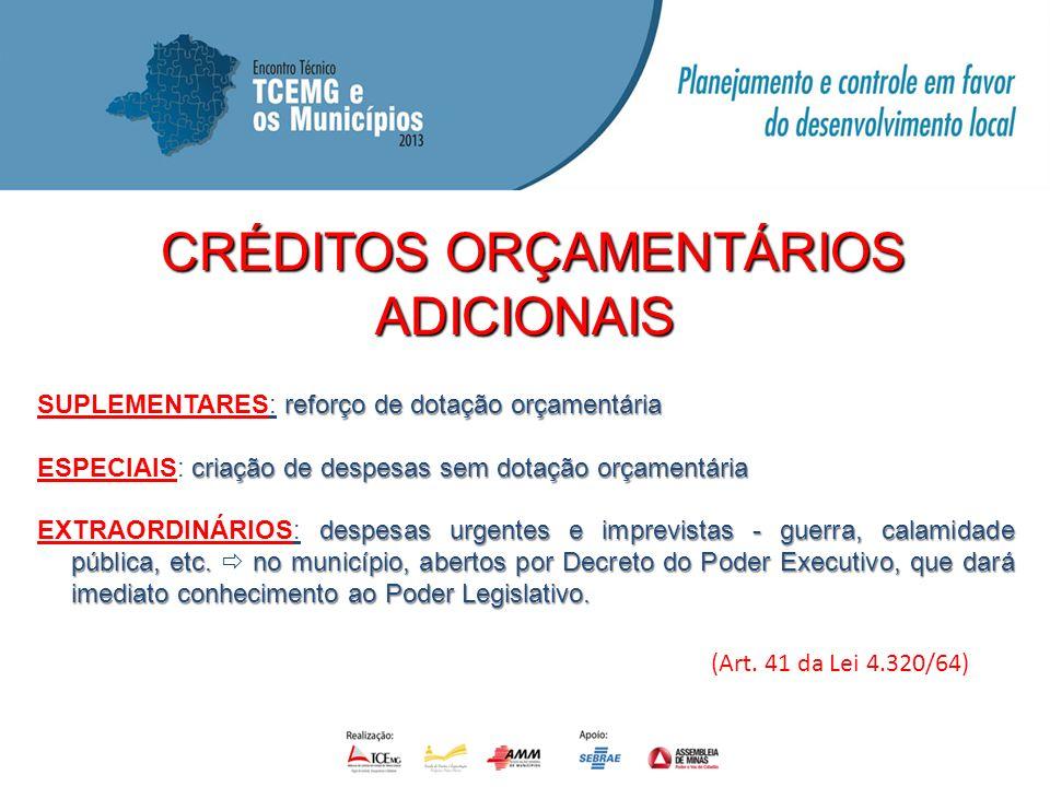 CRÉDITOS ORÇAMENTÁRIOS CRÉDITOS ORÇAMENTÁRIOSADICIONAIS SUPLEMENTARES: reforço de dotação orçamentária ESPECIAIS: criação de despesas sem dotação orça