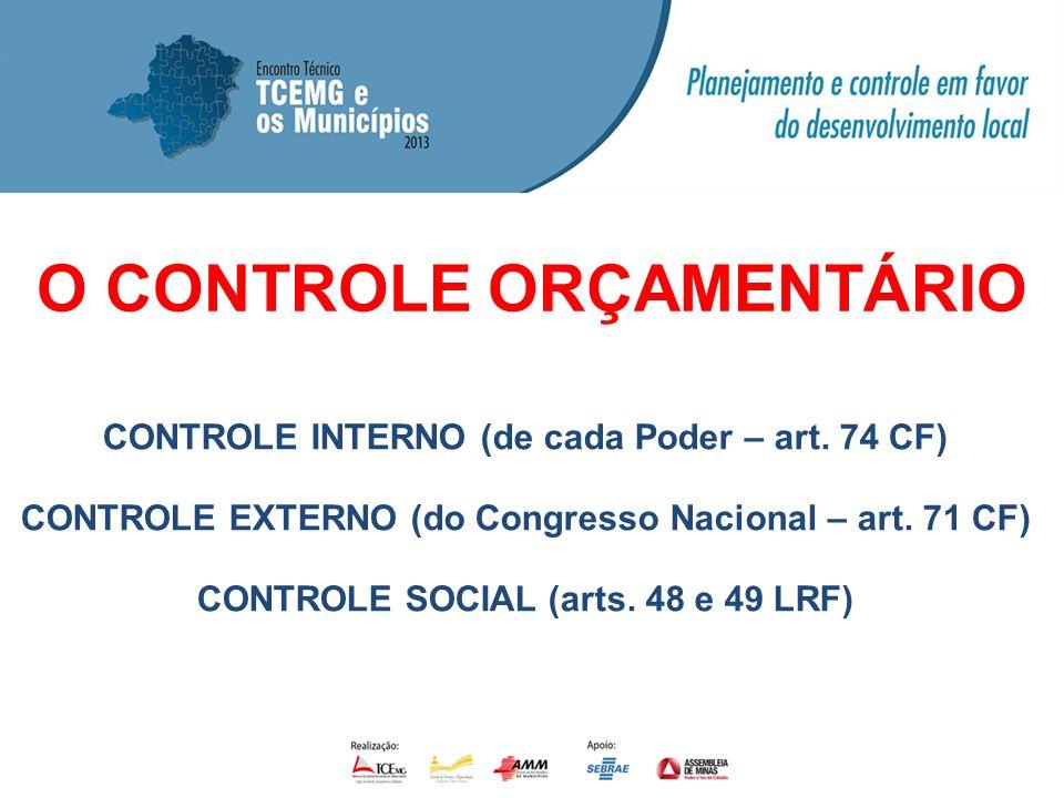 O CONTROLE ORÇAMENTÁRIO CONTROLE INTERNO (de cada Poder – art. 74 CF) CONTROLE EXTERNO (do Congresso Nacional – art. 71 CF) CONTROLE SOCIAL (arts. 48