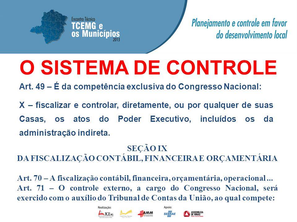 O SISTEMA DE CONTROLE Art. 49 – É da competência exclusiva do Congresso Nacional: X – fiscalizar e controlar, diretamente, ou por qualquer de suas Cas