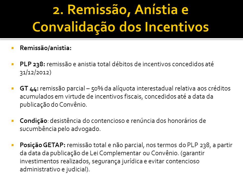 Remissão/anistia: PLP 238: remissão e anistia total débitos de incentivos concedidos até 31/12/2012) GT 44: remissão parcial – 50% da alíquota interes