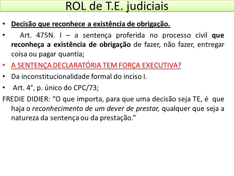 ROL de T.E. judiciais Decisão que reconhece a existência de obrigação. Art. 475N. I – a sentença proferida no processo civil que reconheça a existênci