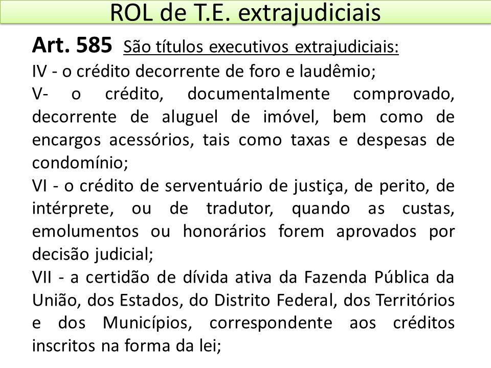 ROL de T.E. extrajudiciais Art. 585 São títulos executivos extrajudiciais: IV - o crédito decorrente de foro e laudêmio; V- o crédito, documentalmente