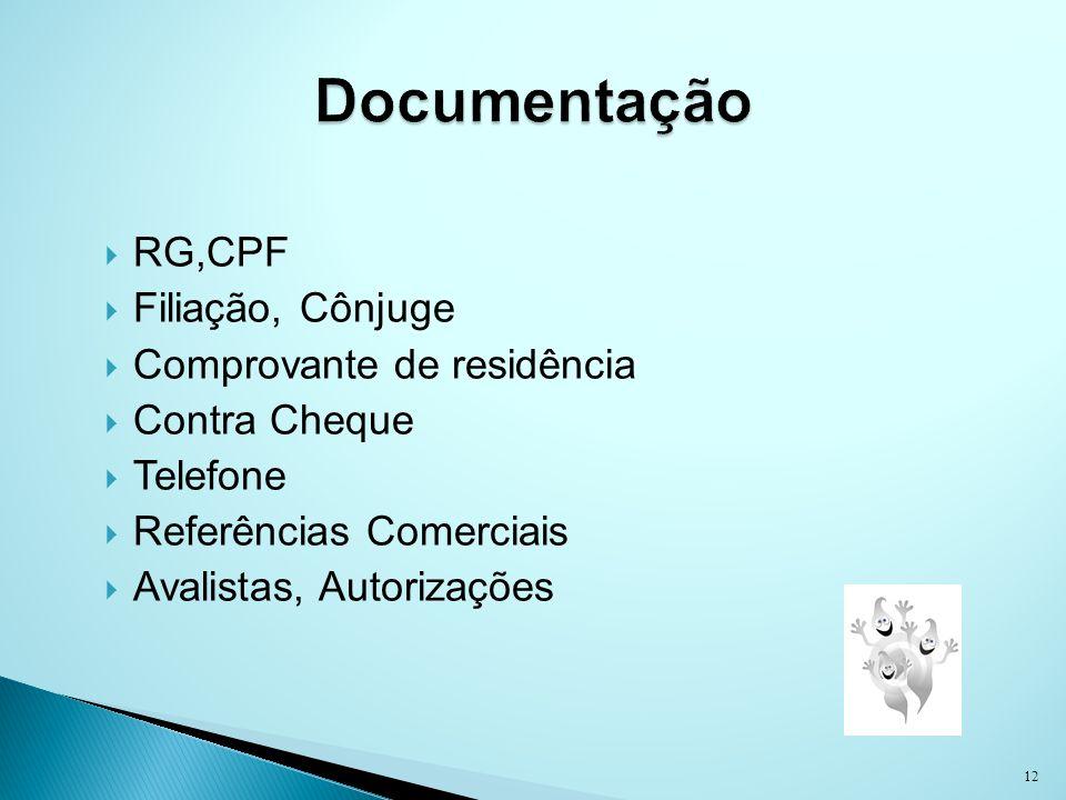 RG,CPF Filiação, Cônjuge Comprovante de residência Contra Cheque Telefone Referências Comerciais Avalistas, Autorizações 12