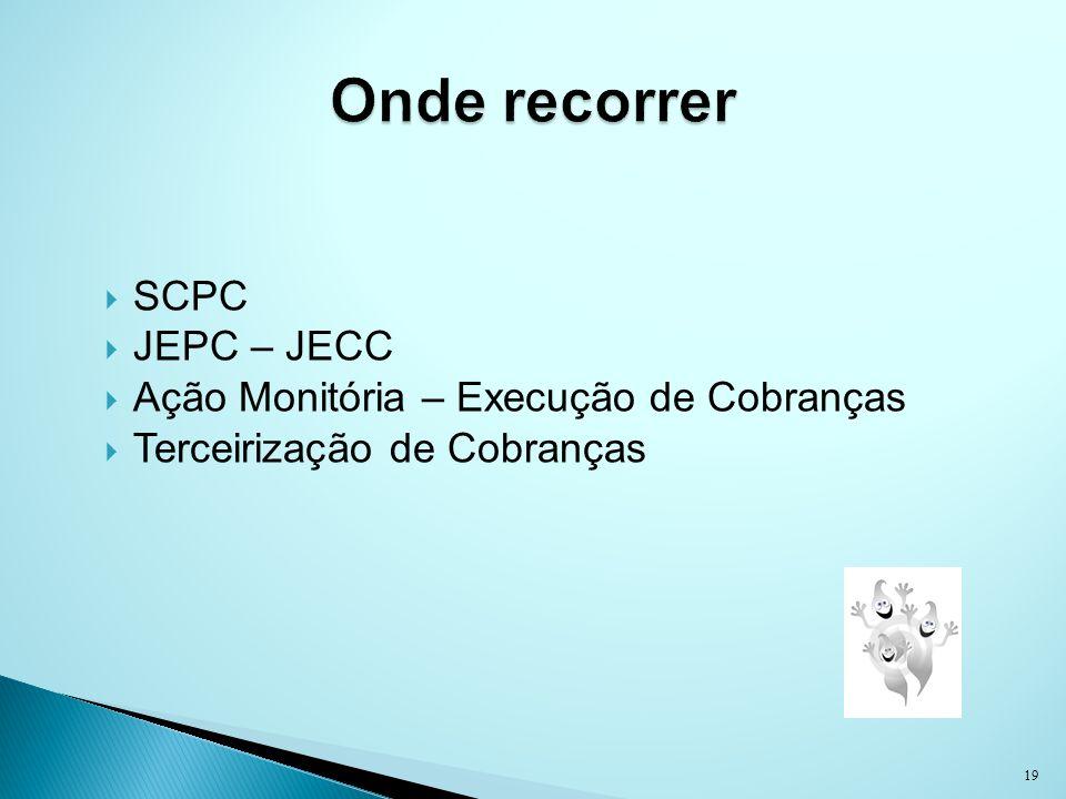 SCPC JEPC – JECC Ação Monitória – Execução de Cobranças Terceirização de Cobranças 19