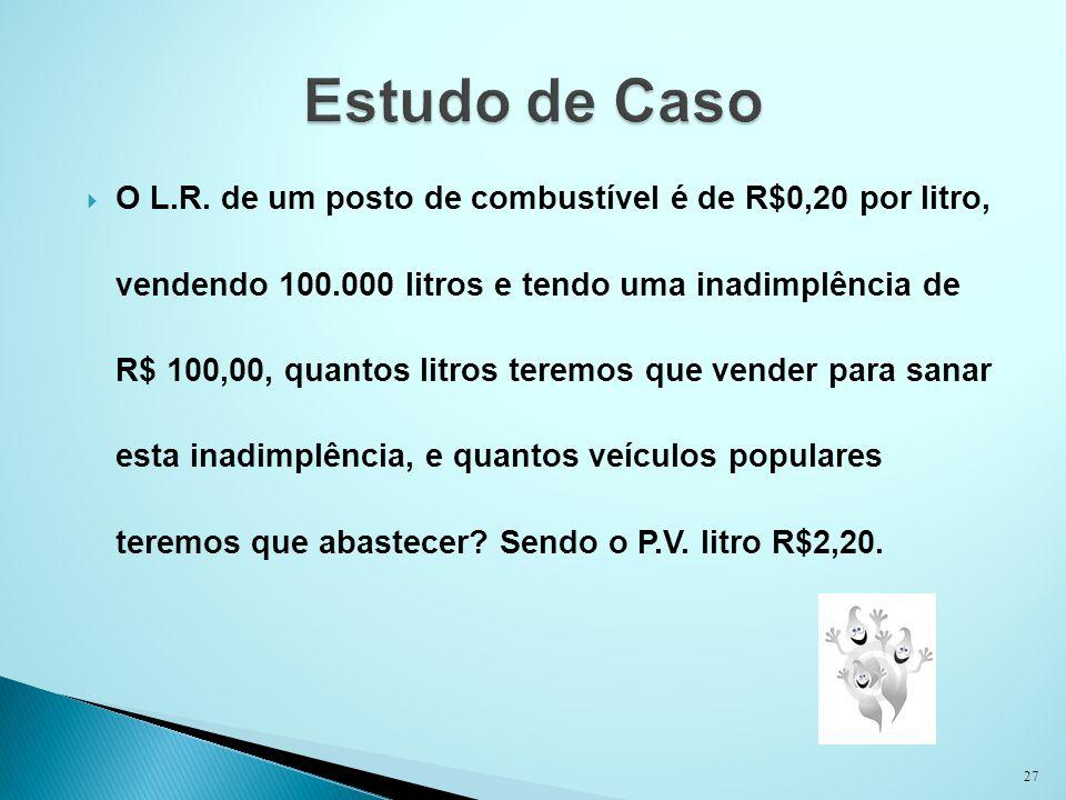 O L.R. de um posto de combustível é de R$0,20 por litro, vendendo 100.000 litros e tendo uma inadimplência de R$ 100,00, quantos litros teremos que ve
