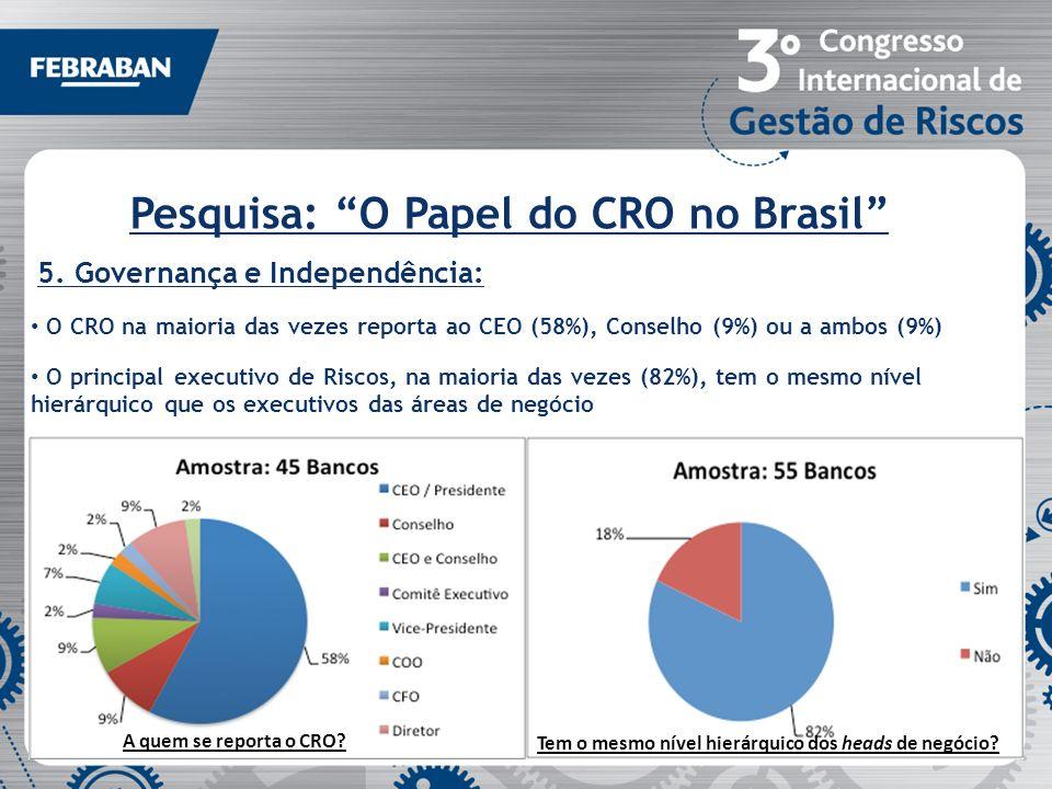 Pesquisa: O Papel do CRO no Brasil 5. Governança e Independência: O CRO na maioria das vezes reporta ao CEO (58%), Conselho (9%) ou a ambos (9%) O pri