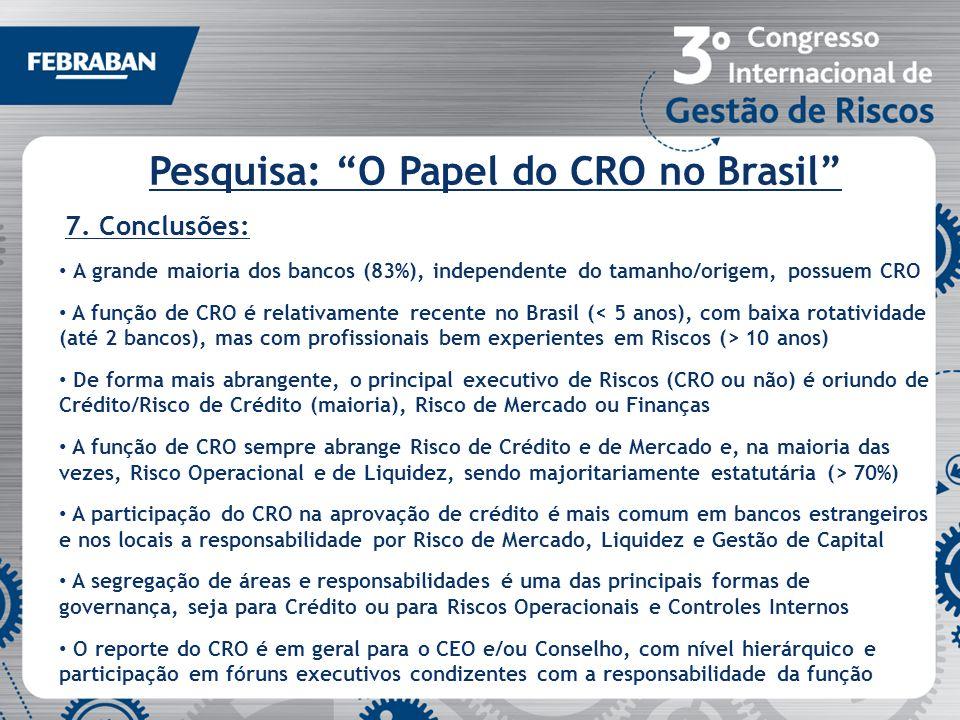 Pesquisa: O Papel do CRO no Brasil 7. Conclusões: A grande maioria dos bancos (83%), independente do tamanho/origem, possuem CRO A função de CRO é rel