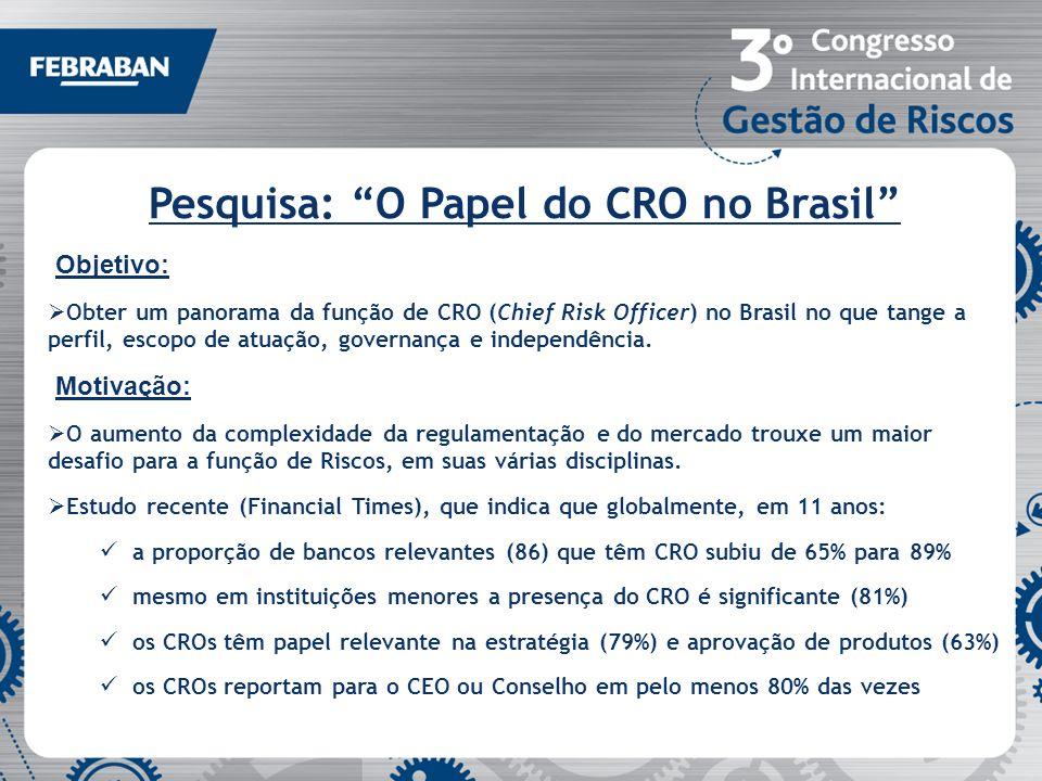Pesquisa: O Papel do CRO no Brasil Objetivo: Obter um panorama da função de CRO (Chief Risk Officer) no Brasil no que tange a perfil, escopo de atuaçã