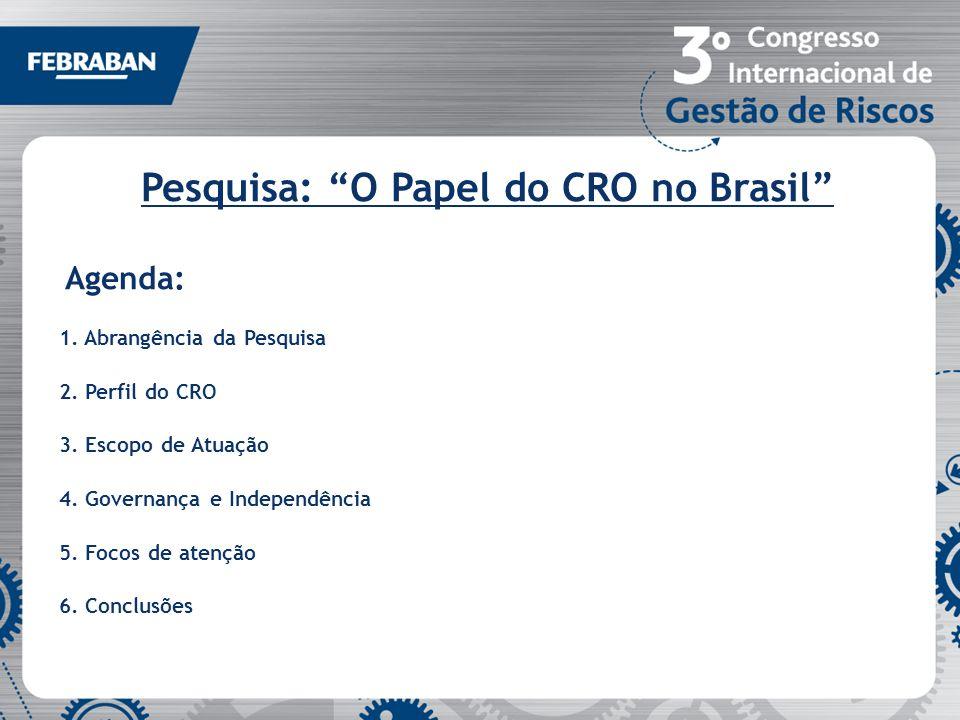 Pesquisa: O Papel do CRO no Brasil Agenda: 1. Abrangência da Pesquisa 2. Perfil do CRO 3. Escopo de Atuação 4. Governança e Independência 5. Focos de