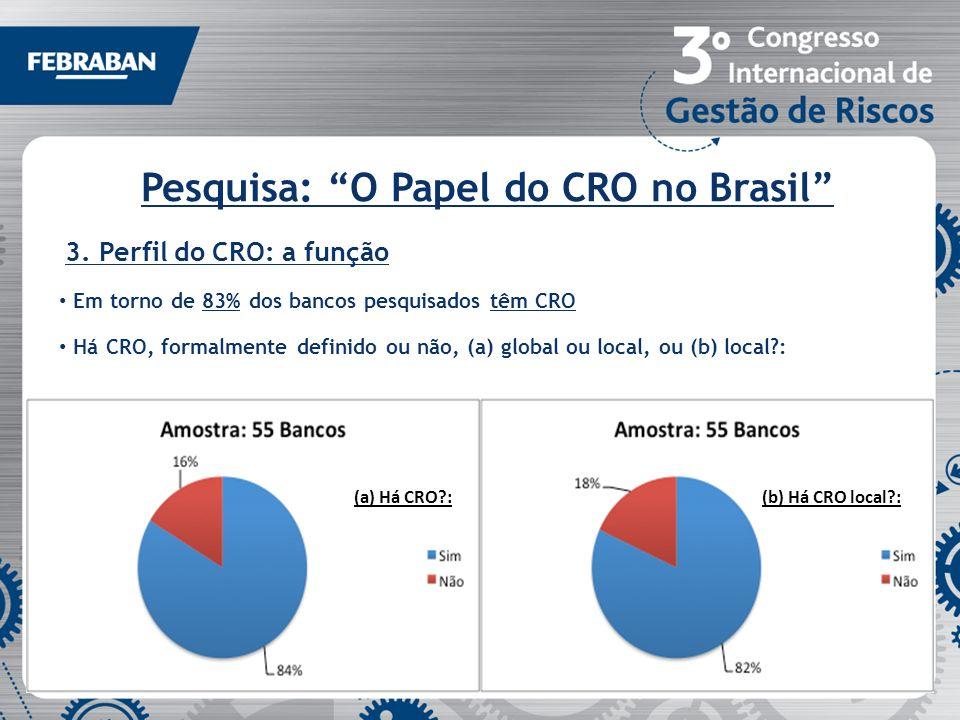 Pesquisa: O Papel do CRO no Brasil 3. Perfil do CRO: a função Em torno de 83% dos bancos pesquisados têm CRO Há CRO, formalmente definido ou não, (a)