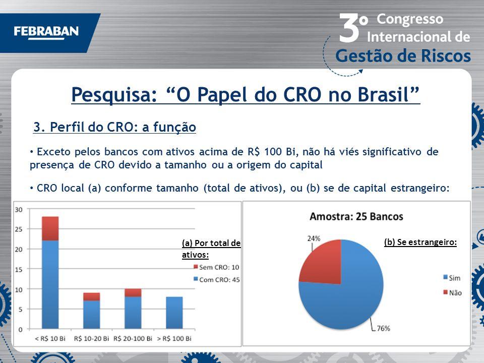 Pesquisa: O Papel do CRO no Brasil 3. Perfil do CRO: a função Exceto pelos bancos com ativos acima de R$ 100 Bi, não há viés significativo de presença