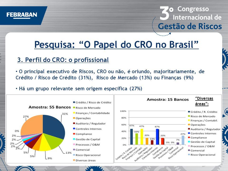 Pesquisa: O Papel do CRO no Brasil 3. Perfil do CRO: o profissional O principal executivo de Riscos, CRO ou não, é oriundo, majoritariamente, de Crédi