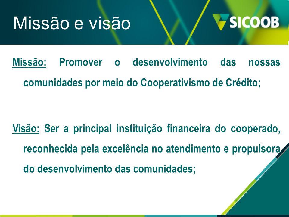 Missão: Promover o desenvolvimento das nossas comunidades por meio do Cooperativismo de Crédito; Visão: Ser a principal instituição financeira do coop