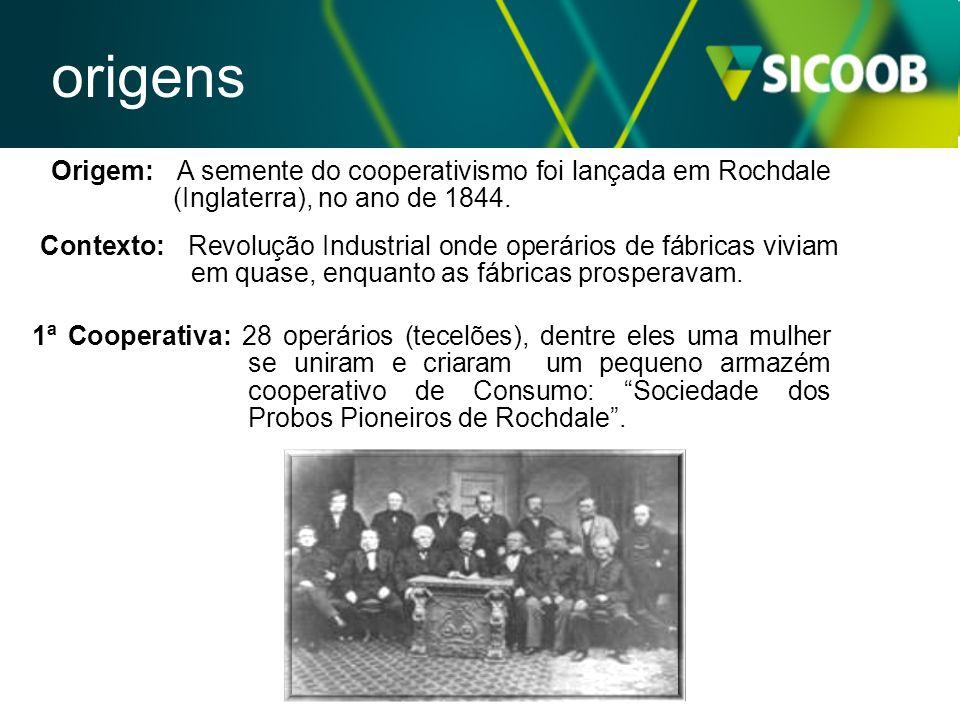 Origem: A semente do cooperativismo foi lançada em Rochdale (Inglaterra), no ano de 1844. Contexto: Revolução Industrial onde operários de fábricas vi