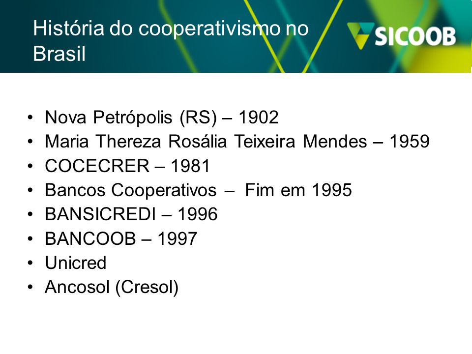 Nova Petrópolis (RS) – 1902 Maria Thereza Rosália Teixeira Mendes – 1959 COCECRER – 1981 Bancos Cooperativos – Fim em 1995 BANSICREDI – 1996 BANCOOB –