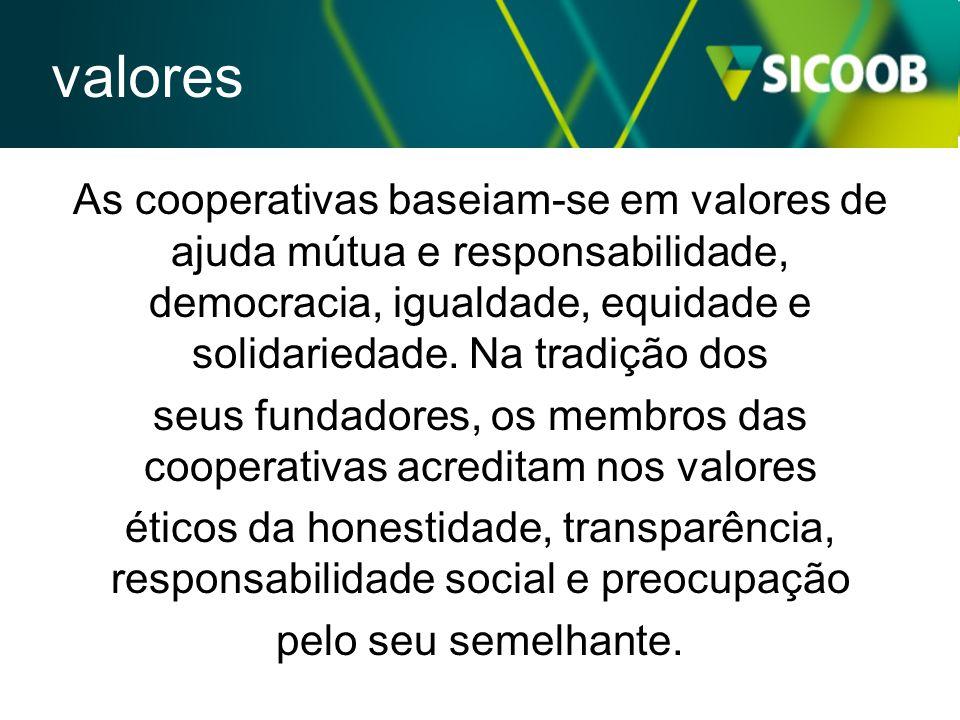 As cooperativas baseiam-se em valores de ajuda mútua e responsabilidade, democracia, igualdade, equidade e solidariedade. Na tradição dos seus fundado