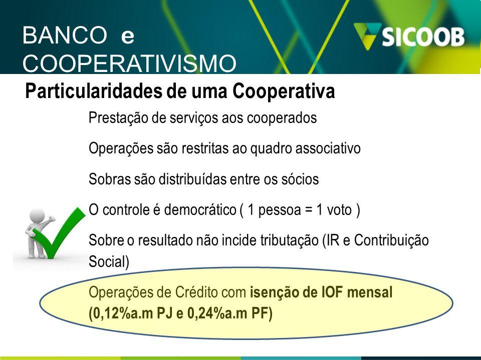 Particularidades de uma Cooperativa Prestação de serviços aos cooperados Operações são restritas ao quadro associativo Sobras são distribuídas entre o